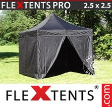 Tenda Dobrável FleXtents PRO 2,5x2,5m Preto, incl. 4 paredes laterais