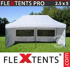 Tenda Dobrável FleXtents PRO 2,5x5m Branco, incl. 6 paredes laterais
