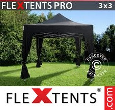 Tenda Dobrável FleXtents PRO 3x3m Preto, incl. 4 cortinas decorativas
