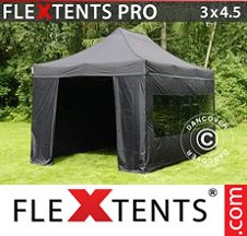 Tenda Dobrável FleXtents PRO 3x4,5m Preto, incl. 4 paredes laterais