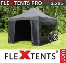 Tenda Dobrável FleXtents PRO 2,5x5m Preto, incl. 6 paredes laterais