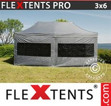 Tenda Dobrável FleXtents PRO  3x6m Cinza, incl. 6 paredes laterais