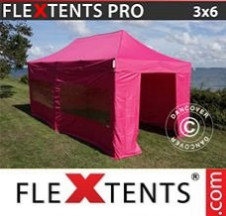 Tenda Dobrável FleXtents PRO  3x6m Rosa, incl. 6 paredes laterais