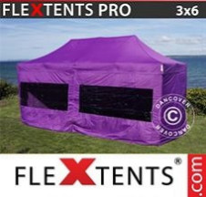 Tenda Dobrável FleXtents PRO  3x6m Roxo, incl. 6 paredes laterais