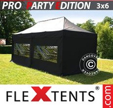 Tenda Dobrável FleXtents PRO 3x6m Preto, incl. 6 paredes laterais