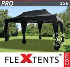 Tenda Dobrável FleXtents PRO 3x6m Preto, inclui 6 cortinas decorativas