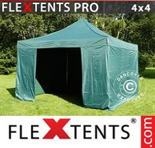 Tenda Dobrável FleXtents PRO 4x4m Verde, incl. 4 paredes laterais