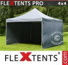 Tenda Dobrável FleXtents PRO 4x4m Cinza, incl. 4 paredes laterais
