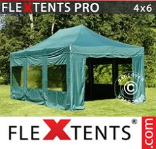 Tenda Dobrável FleXtents PRO 4x6m Verde, incl. 8 paredes laterais