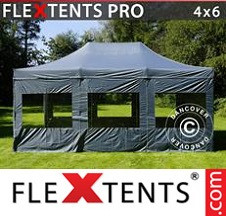 Tenda Dobrável FleXtents PRO 4x6m Cinza, incl. 8 paredes laterais