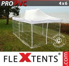 Tenda Dobrável FleXtents PRO 4x6m Transparente, incl. 8 paredes laterais
