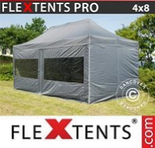 Tenda Dobrável FleXtents PRO  4x8m Cinza, incl. 6 paredes laterais