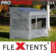 Tenda Dobrável FleXtents PRO 2x3m Cinza, incl. 4 paredes laterais