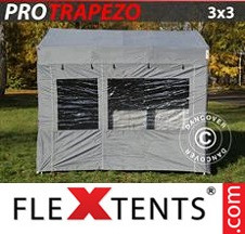 Tenda Dobrável FleXtents PRO 3x3m Cinza, incl. 4 paredes laterais