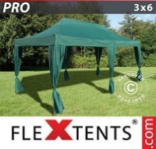 Tenda Dobrável FleXtents PRO  3x6m Verde, inclui 6 cortinas decorativas