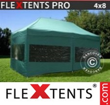 Tenda Dobrável FleXtents PRO 4x8m Verde, incl. 6 paredes laterais