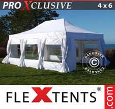 Tenda Dobrável FleXtents PRO 4x6m Branca, incl. 8 paredes laterais & cortinas decorativas - Comprar já!